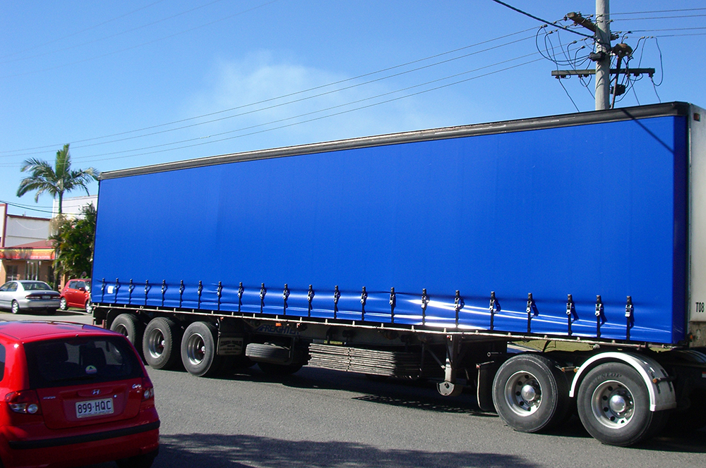 Plain blue curtain sider